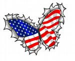 Ripped Torn Metal Butterfly Design With American Stars & Stripes Flag Motif External Vinyl Car Sticker 125x90mm